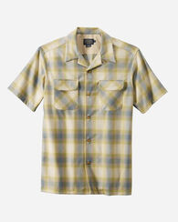 MEN'S SHORT-SLEEVE BOARD SHIRT, SURF GREEN/TAN OMBRE, large