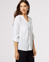 SEQUINED TAB-SLEEVE TOP, WHITE, large