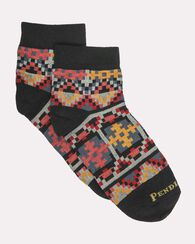 GEO TAPESTRY QUARTER CREW SOCKS, BLACK, large