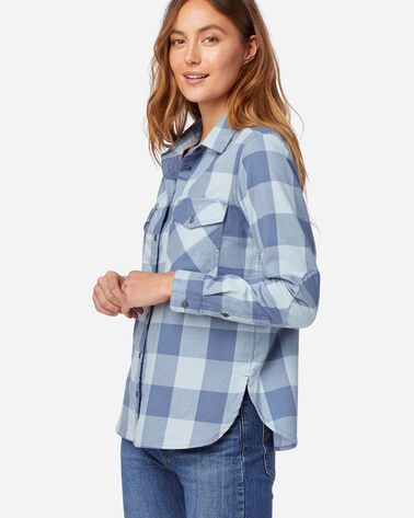 ALTERNATE VIEW OF WOMEN'S DOUBLE-BRUSHED FLANNEL ELBOW PATCH SHIRT IN BLUE CHECK