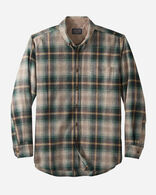 BUTTON-DOWN FIRESIDE SHIRT IN TAN/BROWN/GREEN OMBRE