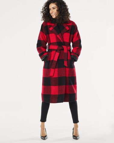 LONG BUFFALO PLAID WRAP COAT, BLACK/RED CHECK, large