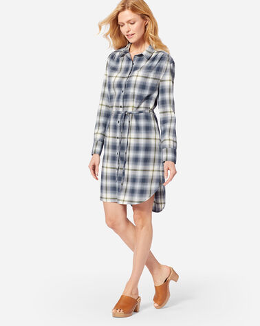 LONG SLEEVE PLAID SHIRTDRESS IN BLUE/GREEN