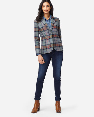 ALTERNATE VIEW OF WOMEN'S BRYNN OREGON TWEED WOOL BLAZER IN GREY MIX PLAID
