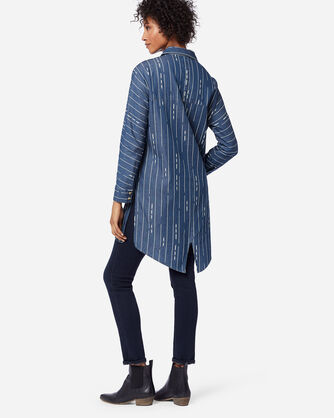 ADDITIONAL VIEW OF WOMEN'S DELANEY HI-LOW TUNIC IN BLUE/IVORY PRINT