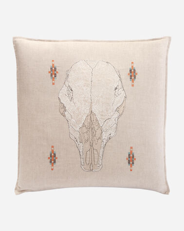 SKULL PILLOW IN NATURAL LINEN