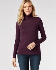 LONG-SLEEVE TURTLENECK JERSEY TEE, DARK PLUM, large