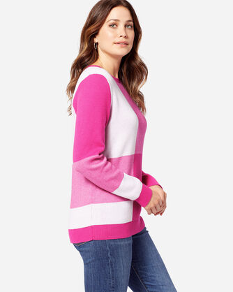 ADDITIONAL VIEW OF WOMEN'S BOX PLAID SWEATER IN FUCHSIA/WHITE