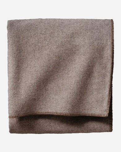 ECO-WISE WOOL SOLID BLANKET, FAWN HEATHER, large