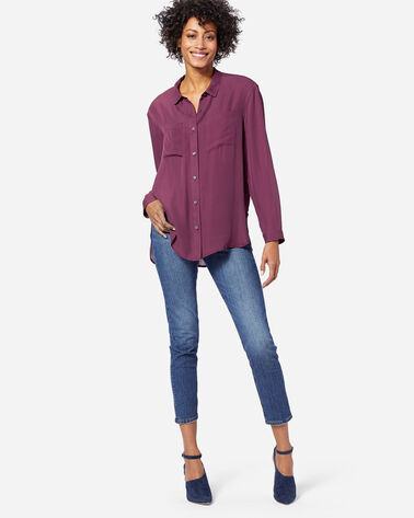 WOMEN'S LONG-SLEEVE SILK BUTTON-UP SHIRT, FIG, large