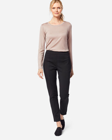SEAMED SLIM PONTE PANTS IN BLACK