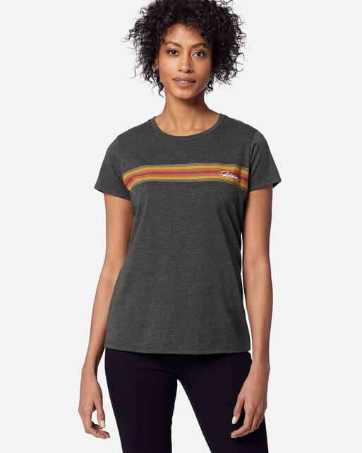 WOMEN'S NATIONAL PARK STRIPE TEE IN GRAND CANYON CHARCOAL