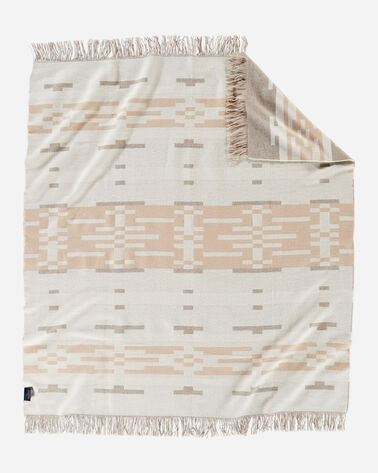 ALTERNATE VIEW OF SANDHILLS FRINGED THROW IN CREAM