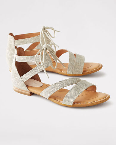 LACE-UP LEATHER CASMA SANDALS