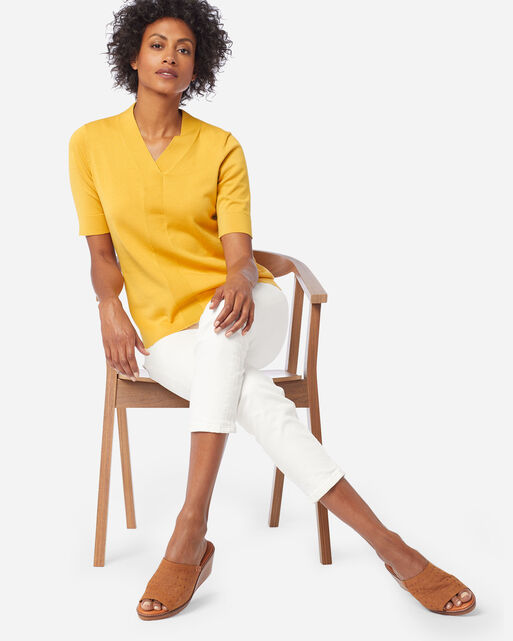 WOMEN'S COLBY SUIT SWEATER IN MARIGOLD
