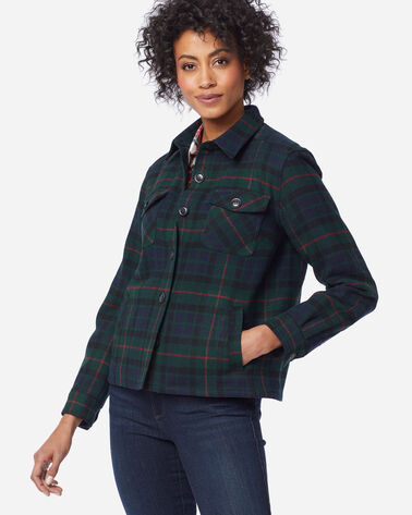 WOMEN'S ROSLYN WOOL JACKET, GREEN GUNN TARTAN, large