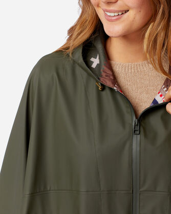ALTERNATE VIEW OF WOMEN'S ZIP FRONT RAIN PONCHO IN OLIVE