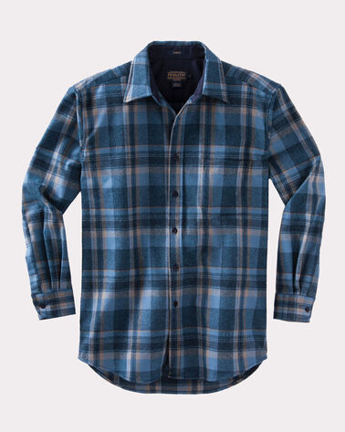 FITTED LODGE SHIRT, INDIGO PLAID, large