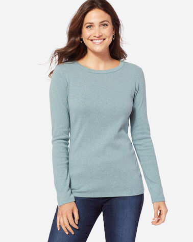 LONG-SLEEVE COTTON RIBBED CREWNECK, SHALE BLUE HEATHER, large