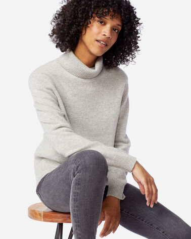 WOMEN'S CASHMERE TURTLENECK IN SILVER GREY HEATHER