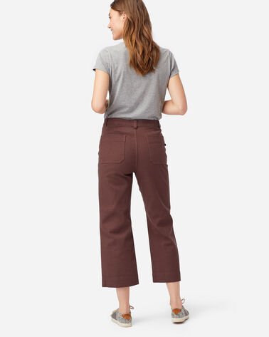 ALTERNATE VIEW OF WOMEN'S HIGH-WAISTED CROPPED PANTS IN RUSTIC PLUM