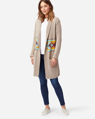 ALTERNATE VIEW OF WOMEN'S SIERRA PEAK LONG CARDIGAN IN TAUPE MULTI