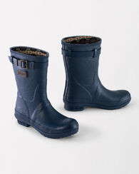 HERITAGE EMBOSSED SHORT BOOTS, NAVY, large