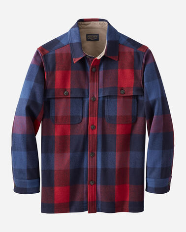 MEN'S HESTON WOOL COAT IN RED/NAVY CHECK