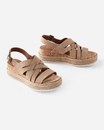 TRASK RANDI SUEDE SANDALS, TAUPE, large