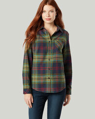 BOYFRIEND FLANNEL SHIRT, GREEN MULTI PLAID, large