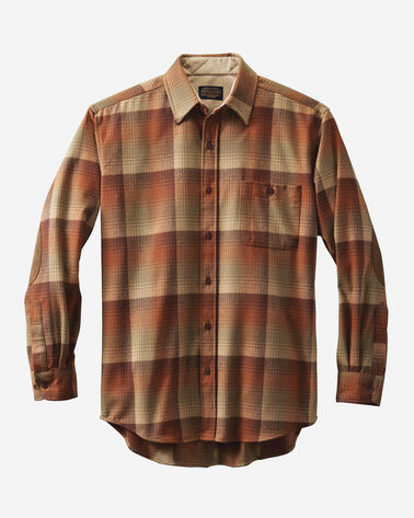 MEN'S FITTED ELBOW-PATCH TRAIL SHIRT, PUMPKIN/BROWN OMBRE, large
