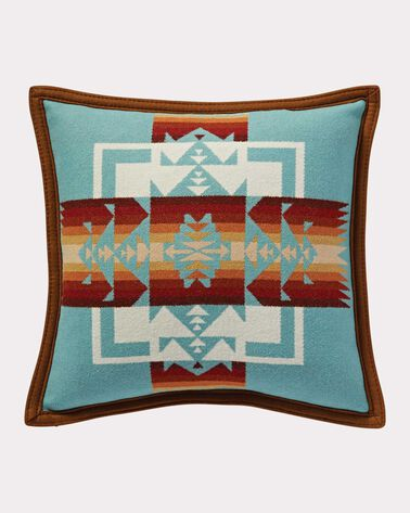 CHIEF JOSEPH PILLOW, AQUA, large