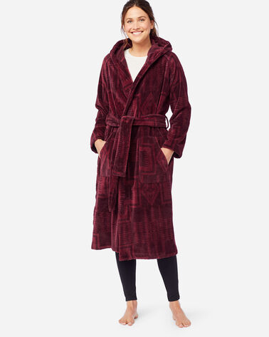 WOMEN'S JACQUARD TERRY ROBE IN BURGUNDY HARDING