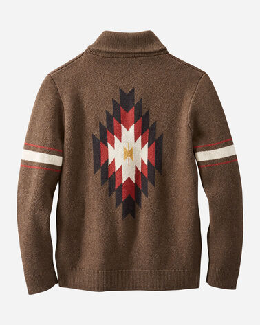 BACK VIEW OF MEN'S ARCHIVE COTTON CARDIGAN IN BROWN