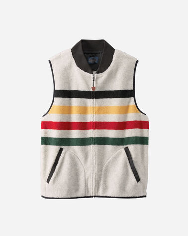 GLACIER PARK STRIPE FLEECE VEST IN GLACIER STRIPE IVORY