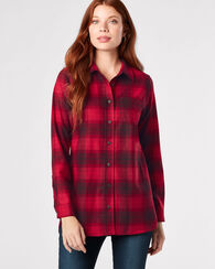 ONE POCKET PLAID WOOL TUNIC, TONAL RED PLAID, large