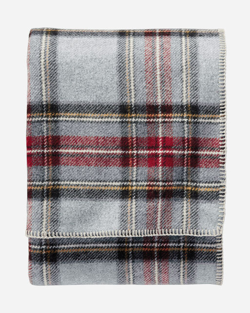 ECO-WISE WOOL PLAID/STRIPE BLANKET, GREY STEWART PLAID, large