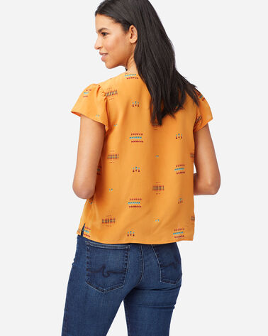 ALTERNATE VIEW OF WOMEN'S SHORT-SLEEVE SILK SHIRT IN GOLD