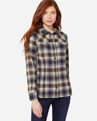ULTRAFINE MERINO CHRISTINA PLAID SHIRT, TAN/GREY OMBRE, large