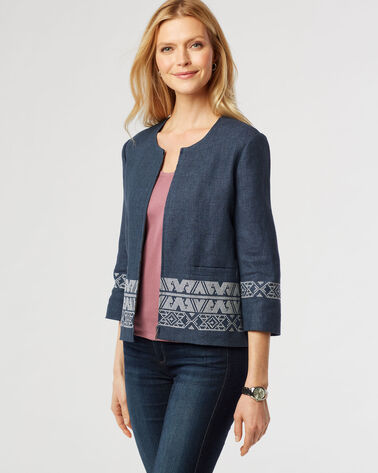 EMBROIDERED ZIP JACKET, INDIGO, large