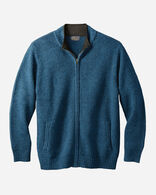 MEN'S SHETLAND FULL-ZIP CARDIGAN, AEGEAN, large
