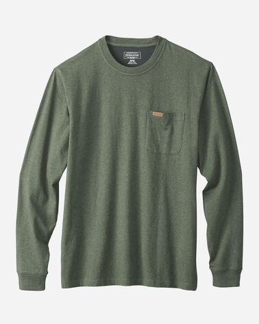 LONG SLEEVE DESCHUTES POCKET TEE, FOREST GREEN HEATHER, large