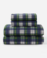 PLAID FLANNEL SHEET SET IN NAVY CAMPBELL TARTAN