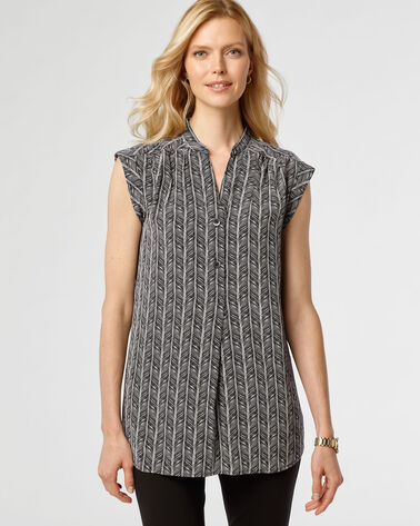 SAVANNA HERRINGBONE TUNIC, BLACK/NATURAL, large