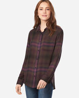 WOMEN'S HELENA BUTTON FRONT SHIRT IN BERRY/FOREST PLAID