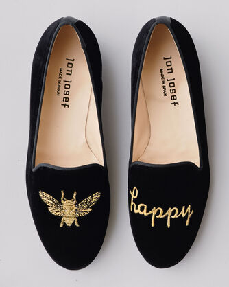 BEE HAPPY EMBROIDERED VELVET FLATS, , large