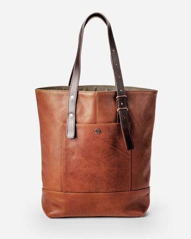 OPEN TOP LEATHER TOTE, TAN, large