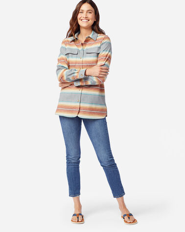 WOMEN'S BOARD SHIRT IN SLATE BLUE/RUST STRIPE