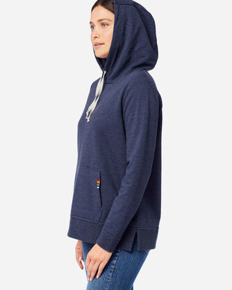 SIDE VIEW OF WOMEN'S ANORAK HOODIE IN CRATER LAKE NAVY
