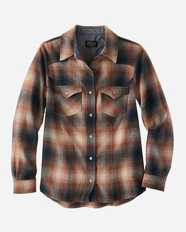 WOMEN'S WOOL SHANIKO WESTERN SHIRT IN BROWN OMBRE